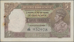 India / Indien: Set Of 2 Notes Of 5 Rupees ND Portrait KGIV P. 18a,b In Condition: XF+ To AUNC With - India