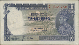 India / Indien: Set Of 2 Notes 10 Rupees ND P. 19a,b, Both In Similar Condition With Light Folds And - India
