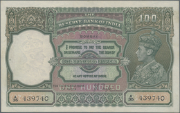 India / Indien: 100 Rupees ND(1937) Portrait KGIV P. 20a, BOMBAY Issue, Only Lightly Used With 2 Pin - India