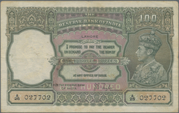India / Indien: 100 Rupees ND(1930) Portrait KGIV P. 20, LAHORE Issue, Used With Folds And Pinholes - India