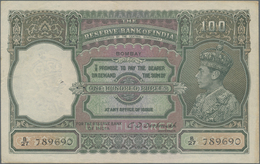 India / Indien: 100 Rupees ND(1937) Portrait KGIV P. 20b, BOMBAY Issue, Only Light Traces Of Use, Li - India