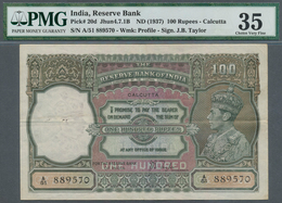 India / Indien: 100 Rupees ND(1937) P. 20d, Condition: PMG Graded 35 Choice Very Fine. - India