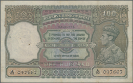 India / Indien: 100 Rupees ND(1937) Portrait KGIV P. 20d, CALCUTTA Issue, Used With Folds And Pinhol - India