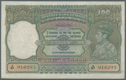 India / Indien: 100 Rupees ND(1937-43), Place Of Issue CALCUTTA With Signature Deshmuk, P.20e In Exc - India