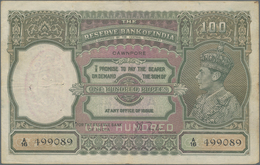 India / Indien: 100 Rupees ND(1937) Portrait KGIV P. 20g, CAWNPORE Issue, Used With Folds And Pinhol - India