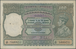 India / Indien: 100 Rupees ND(1937) Portrait KGIV P. 20n, MADRAS Issue, Used With Folds And Pinholes - India