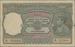 India / Indien: 100 Rupees ND(1943) Portrait KGIV P. 20o, MADRAS Issue, Used With Folds And Pinholes - India