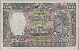 India / Indien: Rare Note Of 1000 Rupees ND(1937) P. 21b, Issue For CALCUTTA, Pinholes In Paper, Bor - India