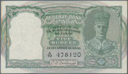 India / Indien: Reserve Bank Of India 5 Rupees ND(1943) With Black Serial Numbers, P.23a, Staple Hol - India