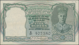 India / Indien: 5 Rupees ND(1943) P. 23a, Light Folds In Paper, Black Serial Number, Usual Pinholes, - India