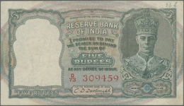 India / Indien: 5 Rupees ND(1943) P. 23a, Light Folds In Paper, Red Serial Number, Usual Pinholes, O - India