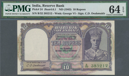 India / Indien: Set Of 3 Consecutive Banknotes 10 Rupees ND(1943) P. 24, All PMG Graded 64 Choice UN - India