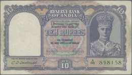 India / Indien: 10 Rupees ND(1943) P. 24, Used With Light Folds In Paper, 2 Pinholes, Still Strong P - India