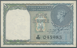 India / Indien: 1 Rupee 1940, P.25a In Nearly Perfect Condition With A Tiny Dint At Upper Right Corn - India