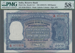 India / Indien: 100 Rupees ND(1949-57), P.43a In UNC With Staple Holes As Usually, PMG Graded 58 Cho - India