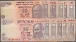 India / Indien: Set Of 10 Notes 10 Rupees ND P. 89 With Interesting Serial Numbers From 0000000 To 9 - India