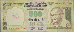 India / Indien: 500 Rupees ND P. 93 Error Note With Inverted Watermark In Paper, Light Handling In P - India