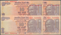 India / Indien: Set Of 4 Error Notes Of P. 95, Two Of Them With Two Different Serial Numbers Printed - India