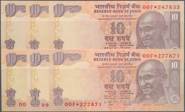 India / Indien: Set Of 6 Notes Of 10 Rupees Replacement Banknote P. 95, All In Condition: UNC. (6 Pc - India
