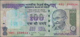 India / Indien: 100 Rupees P. 98 Error Note, Printed With 2 Different Serial Numbers On Front, In Us - India