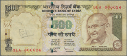 India / Indien: 500 Rupees ND P. 99 Error Note With Inverted And Misplaced Watermark In Paper, Handl - India