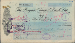 India / Indien: Cheque Of The Punjab National Bank Ltd., Rangoon For 2550 Kyats Dated 1958 With Hand - India