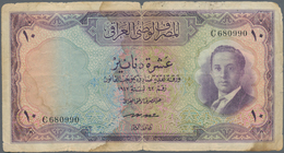 Iraq / Irak: 10 Dinars 1955 P. 41, Stronger Used With Very Strong Folds, Stains Of Fluid In Paper, B - Iraq