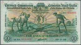 Ireland / Irland: 1 Pound 1936 P. 8a, Ploughman Note, Folded Horizontally And Vertically, No Holes O - Ireland