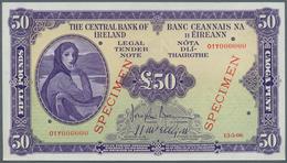 Ireland / Irland: 50 Pounds Specimen P. 61s, 5 Cancellation Holes, Specimen Overprint And Zero Seria - Ireland
