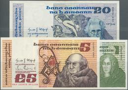 Ireland / Irland: Set Of 3 Notes Containing 1 Pound 1978 P. 70b (aUNC), 5 Pounds 1983 P. 71d (aUNC) - Ireland