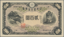 Japan: 200 Yen 1945, P.44a, Tiny Dint At Upper And Lower Right And Soft Vertical Bend. Condition: XF - Japan