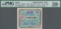 """Japan: Pair Of The 10 Sen Allied Military Currency WW II ND(1945), REPLACEMENT Notes With Prefix """"H"""" - Japan"""