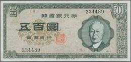 Korea: 500 Hwan 4291 (1958), P.24, Still Crisp Paper, With Two Stronger Center Folds. Condition: VF - Korea, South