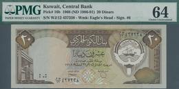 Kuwait: Set With 3 Consecutive Banknotes 20 Dinars L.1968 (1986-91), P.16b, All PMG Graded 64 Choice - Kuwait