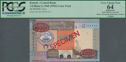 Kuwait: 1/4 Dinar L.1968 (1994) Color Trial De La Rue Specimen, P.23cts With Punch Hole Cancellation - Kuwait