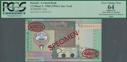 Kuwait: 1/2 Dinar L.1968 (1994) Color Trial De La Rue Specimen, P.24cts With Punch Hole Cancellation - Kuwait