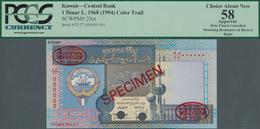Kuwait: 1 Dinar L.1968 (1994) Color Trial De La Rue Specimen, P.25cts With Punch Hole Cancellation, - Kuwait