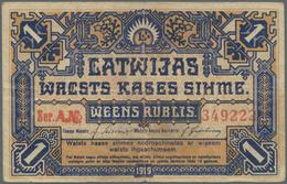 Latvia / Lettland: Latwijas Walsts Kaşes 1 Rublis 1919, P.1, Still Nice And Rare Note With A Few Fol - Latvia