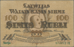 Latvia / Lettland: 100 Rubli 1919, P.7b, Still Nice With Bright Colors And Great Original Shape, Ver - Latvia