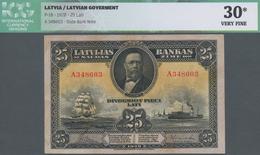 Latvia / Lettland: 25 Latu 1928 P. 18, Series A, Sign. Kalnings, Yellowing Stains On Reverse, Light - Latvia