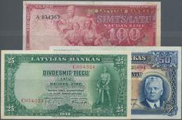 Latvia / Lettland: Nice Lot With 3 Banknotes 50 Latu 1934 In VF, 25 Latu 1938 In UNC And 100 Latu 19 - Latvia