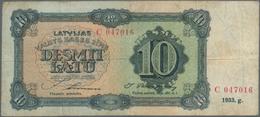 Latvia / Lettland: Set Of 2 Notes Containing 10 Latu 1933 & 1934 P. 24a, 25f, Both Used With Folds A - Latvia