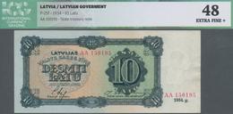 Latvia / Lettland: 10 Latu 1934, P.25f, Series AA, ICG Graded 48 Extra Fine+ - Latvia