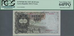 "Latvia / Lettland: 10 Latu 1937 Specimen With Perforation ""PARAUGS"", P.29s1 In UNC, PCGS Graded 64PP - Latvia"