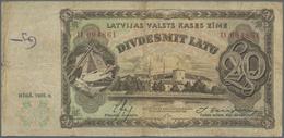 Latvia / Lettland: OAir With 20 Latu 1935 P.30a In F- And 20 Latu 1936 P.30b In VF (2 Pcs.) - Latvia