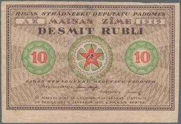 Latvia / Lettland: Riga's Workers Deputies' Soviet 10 Rubli 1919 Without Underprint On Back, P.R4, S - Latvia
