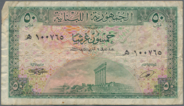 Lebanon / Libanon: Small Lot With 3 Banknotes 50 Piastres 1950 P.43 (F-), 1 Livre 1950 P.48 (VG) And - Lebanon