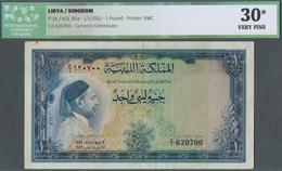Libya / Libyen: 1 Pound Kingdom Of Libya 1952 P. 16, ICG Graded 30* Very Fine. - Libya