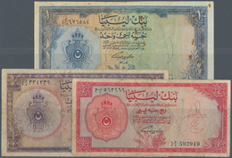 Libya / Libyen: Set Of 3 Notes Containing 1/4, 1/2 And 1 Pound L.1963 P. 23-35, All Used With Folds - Libya