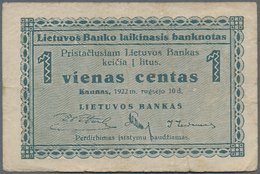 Lithuania / Litauen: 1 Centas 1922 P.1 With Lighly Toned Paper And Some Folds And 5 Centai 1922 P.2 - Lithuania